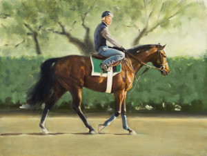 """Exercise Rider, Keeneland"", Oil, 14.5x19 by Joanne Mehl"